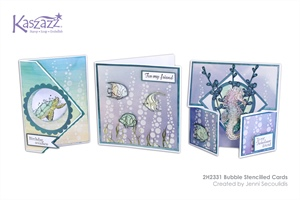 2H2331 Bubble Stencilled Cards